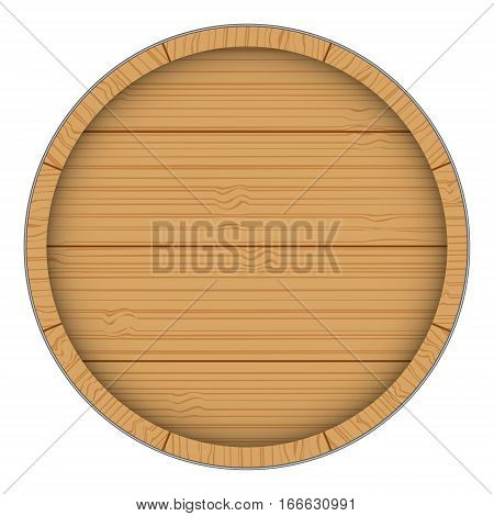 Wooden barrel isolated on white background. Vector image.