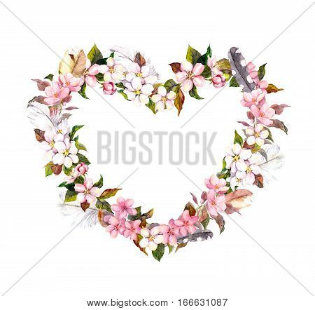 Floral wreath - heart shape. Pink flowers and feathers. Watercolor heart for Valentine day, wedding in vintage boho style