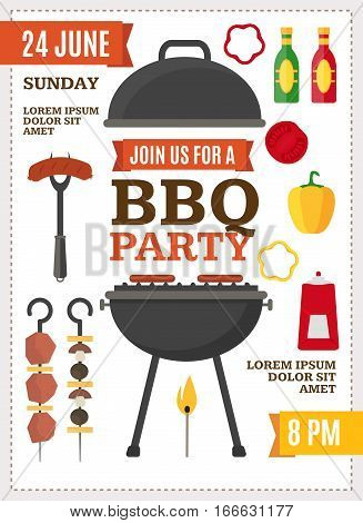 Barbecue and Grill Party Poster for Home Party or Restaurant. Products and Kitchen Tools Flat Design Style Vector illustration