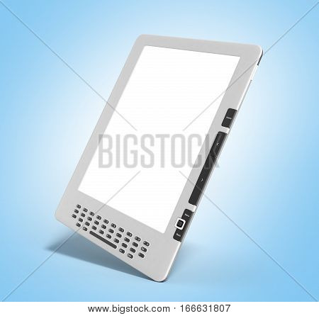Blank E-book Reader 3D Render Image On On Blue Gradient