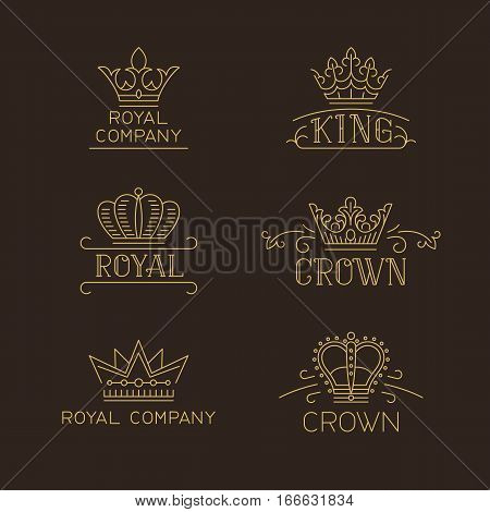 Crown logo set. Luxury signs in trendy outline style. Vector illustration for hotel, restaurant, boutique, invitation, jewellery, etc.