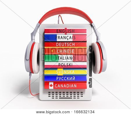 E-boock Audio Learning Languages 3D Render On White
