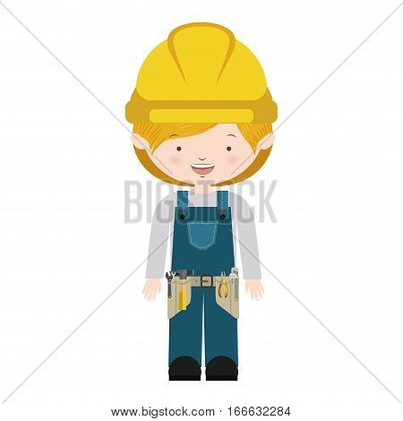 avatar worker with toolkit and blond hair vector illustration