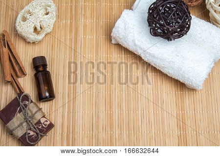 Set For Spa Aromatherapy On Bamboo Mat