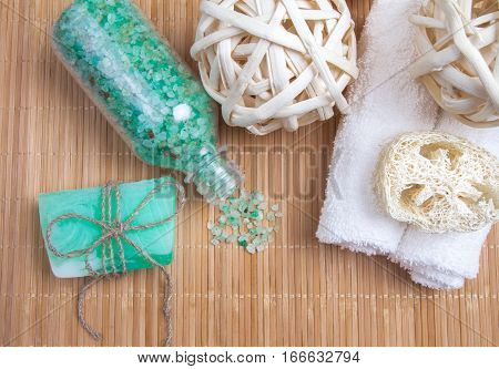 Sea Salt And Natural Soap Aquamarine On Bamboo Mat