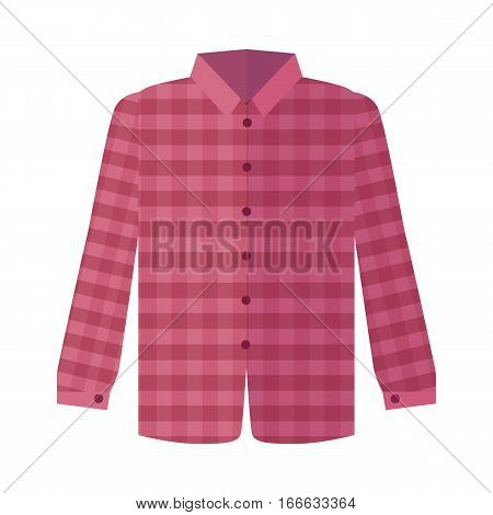 Checkered red shirt with long sleeve icon. Man s everyday clothing, classic country style vector illustration isolated on white background. For clothing store ad, wear concept, app button, web design