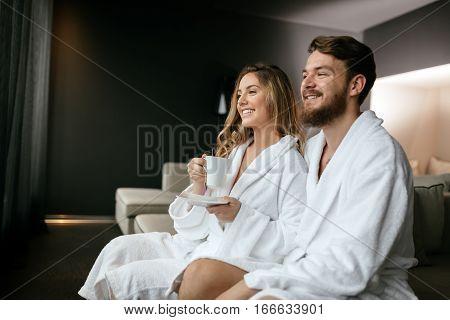 Romantic couple enjoying honeymoon escape and wellness weekend