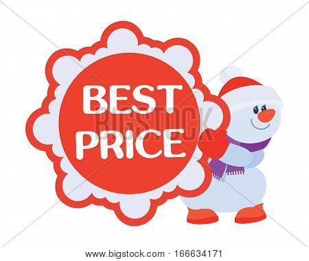 Best price discounts . Snowman with sale offer poster. Sticker for winter holidays discounts. Flat design. Big sale, special offer, best price, total sale, best deal today. Vector illustration