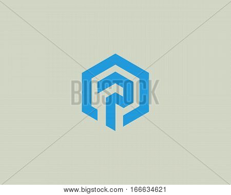 Abstract letter p vector logotype. Line hexagon creative simple logo design template. Universal geometric symbol font icon