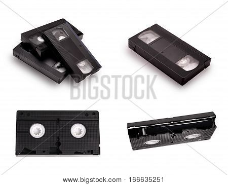 Set of Blank vhs video cassettes tape isolated on white background with clipping path