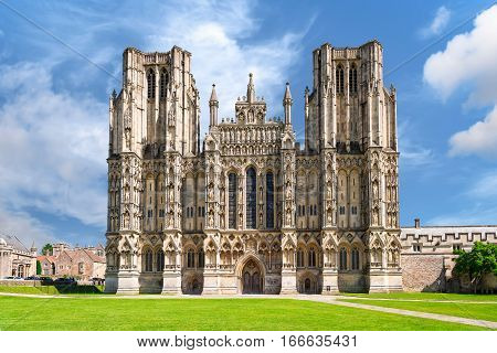 West front of Cathedral Church of Saint Andrew. The Wells Cathedral was built between 1175 and 1490.