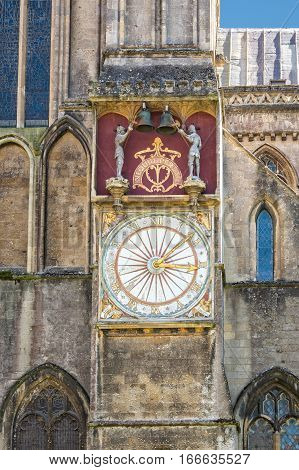 Wells United Kingdom - August 6 2016: Outer dial of astronomical clock at Wells cathedral