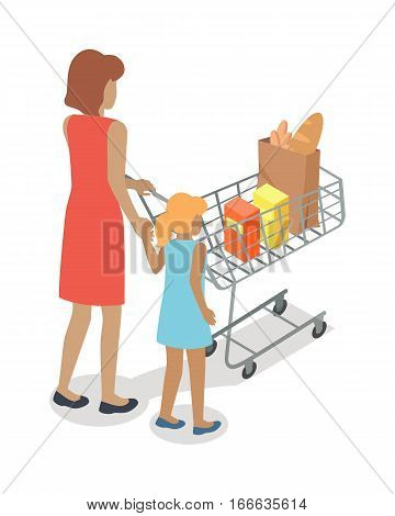 Woman and girl with cart purchases in flat design. Shop cart customer woman buy purchase, trolley with purchase, consumer with goods, food product in cart, buyer woman, shopper. Vector illustration