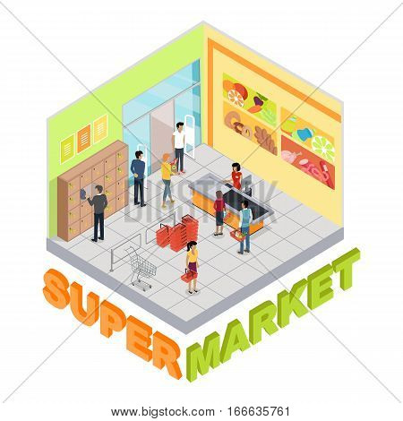 Supermarket interior in isometric projection. Trading room with customers, personal, sellers, shelves, cashes, goods, shopping carts and scales. For store ad, app, game interface 3D illustration