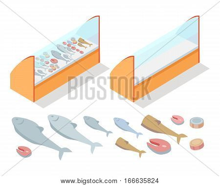 Fish products refrigerator. Natural foods of fish in fridge vector illustration. Supermarket furniture equipment isolated fish elements. Flat design. Shelves, freezer, fish assortment in fish store.