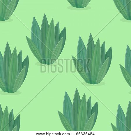 Seamless pattern of flower icons in flat design. Green flower icon endless texture. Design element for home and office interior. Isolated object on white. Green nature, leaf and pot, gardening. Vector