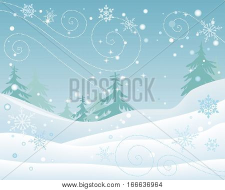 Winter forest vector concept. Flat design. Spruce trees in snowdrifts during snowfall or blizzard, beautiful snowflakes walling. Cold season nature motive. For seasonal ad design, weather illustrating