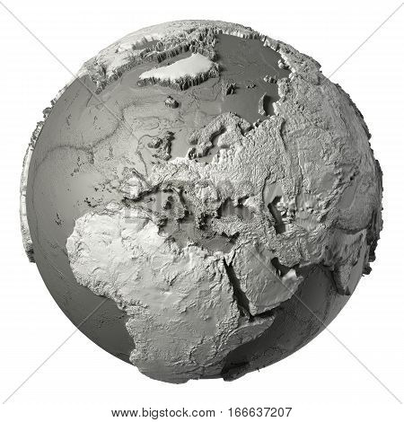 Globe model with detailed topography without water. Europe. 3d rendering isolated on white background. Elements of this image furnished by NASA