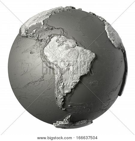 Globe model with detailed topography without water. South America. 3d rendering isolated on white background. Elements of this image furnished by NASA