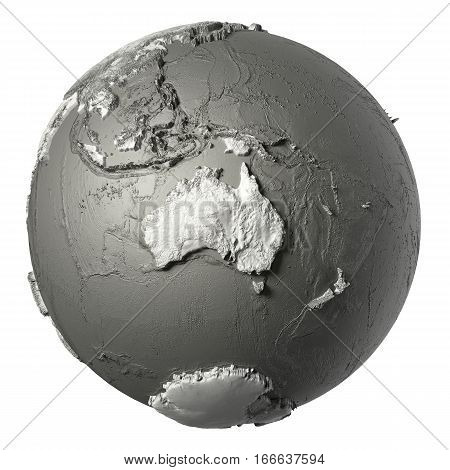 Globe model with detailed topography without water. Australia. 3d rendering isolated on white background. Elements of this image furnished by NASA