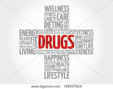 Drugs Word Cloud, Health Cross