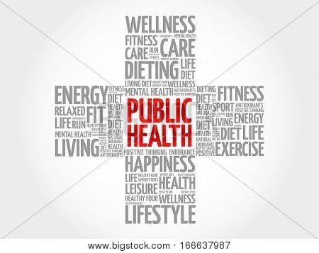Public Health Word Cloud, Health Cross Concept