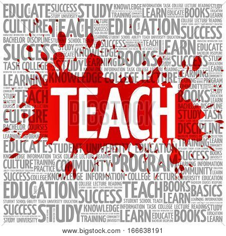 TEACH word cloud education , concept background