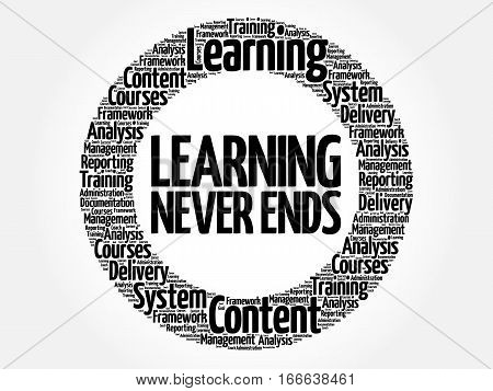 Learning Never Ends Circle Word Cloud