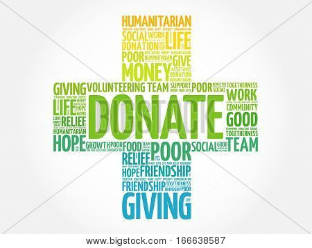 Donate cross word cloud collage , social concept background