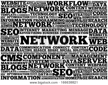 Network word cloud, technology business concept background