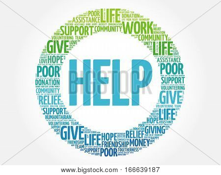 HELP word cloud collage , social concept background