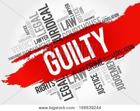Guilty word cloud collage , law concept background