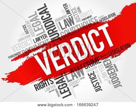 Verdict word cloud collage , law concept background