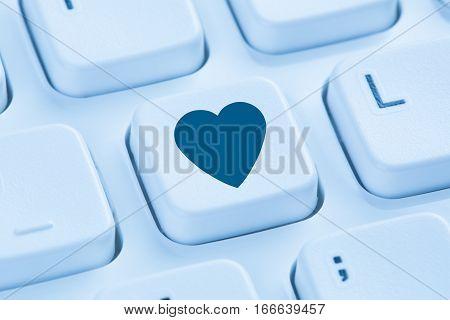 Searching Partner Love Online Internet Dating Heart Blue Computer Keyboard