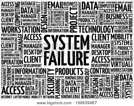 System Failure word cloud, technology business concept background