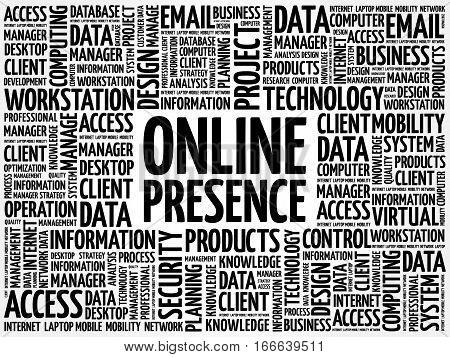 Online Presence word cloud, technology business concept background