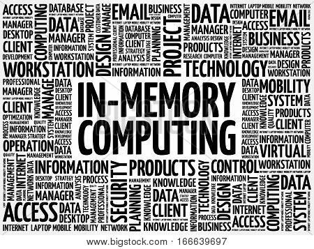 In-Memory Computing word cloud, technology business concept background