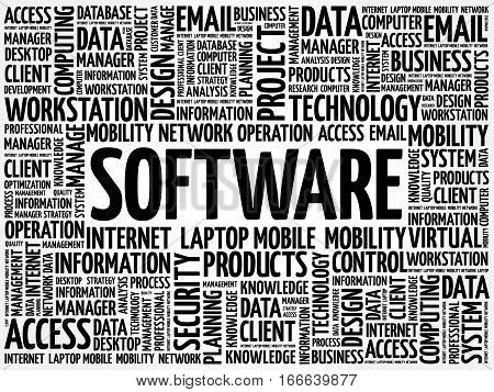 Software word cloud, technology business concept background