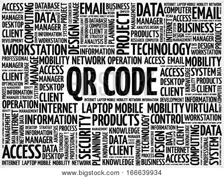 QR code word cloud, technology business concept background