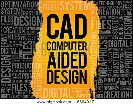 CAD - Computer Aided Design word cloud business concept background