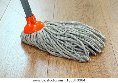 detail of a mop cleaning wooden floor