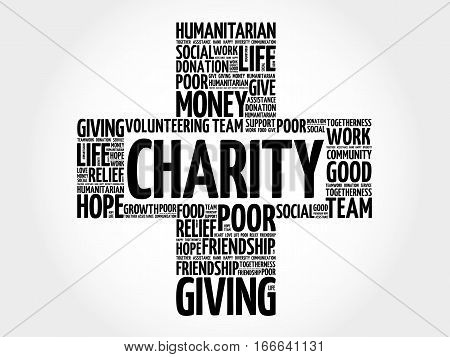 Charity cross word cloud collage , social concept background