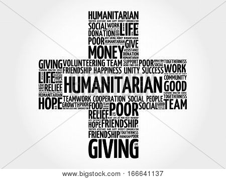 Humanitarian cross word cloud collage , social concept background