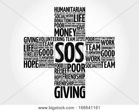 SOS cross word cloud collage , social concept background