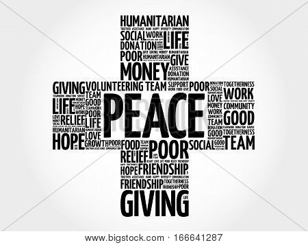 Peace cross word cloud collage , social concept background