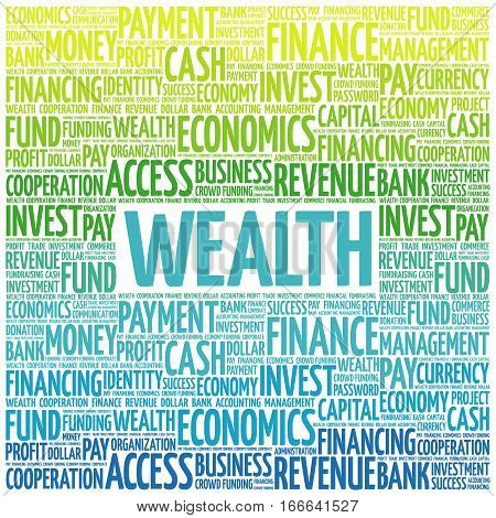 WEALTH word cloud collage , business concept background
