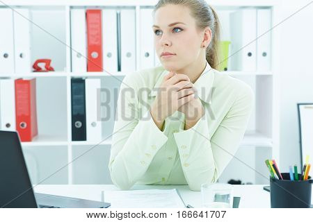 Beautiful young secretary listening to someboby sitting at office. Business exchange market job offer analytics research excellent education certified public accountant concept