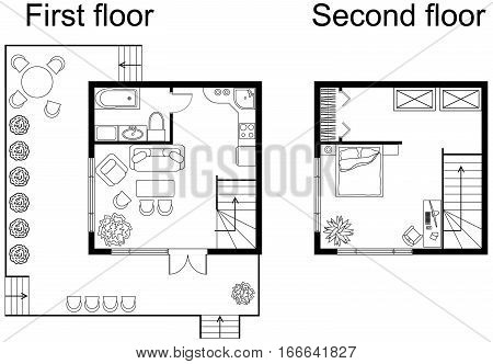Black and White architectural plan of a double decker small house. Apartment with furniture in drawing view. With kitchen and bathroom, living room and bedroom. Plan of first and second floors.