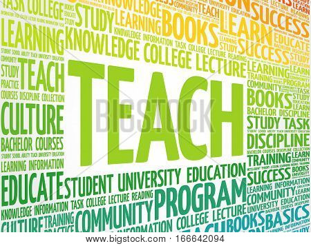TEACH word cloud , education concept background