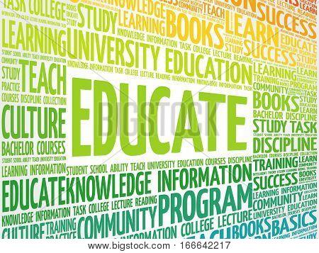 EDUCATE word cloud , education business concept